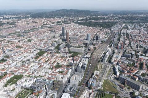 Photographie aérienne du quartier Lyon Part-Dieu. © Crédits : Grand Lyon - Thierry Fournier.