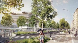 Perspective de la rue Garibaldi réaménagée, dans le cadre du projet Lyon Part-Dieu.
