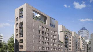 Perspective extérieure de la résidence Bricks sur l'avenue Lacassagne, opération du projet Lyon Part-Dieu