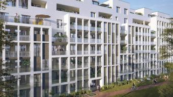 Perspective des jardins de la résidence Bricks sur l'avenue Lacassagne, opération du projet Lyon Part-Dieu