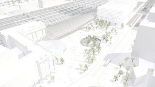 Aménagement de la place Charles Béraudier, opération du projet Lyon Part-Dieu.