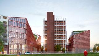 Vue Nord-Ouest du bâtiment Orange, opération du projet Lyon Part-Dieu.