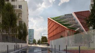 Vue extérieure du bâtiment Orange, opération du projet Lyon Part-Dieu.