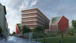 Vue extérieure Est du bâtiment Orange, opération du projet Lyon Part-Dieu.