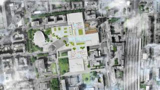 Schéma des toits du centre commercial de la Part-Dieu, vue de dessus.