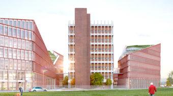 Vue extérieure des bâtiments Orange, opération du projet Lyon Part-Dieu.