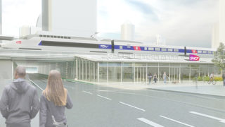 Vue de la future Voie L en gare de Lyon Part-Dieu, opération du projet Lyon Part-Dieu.