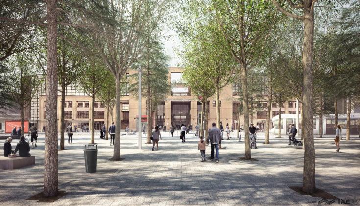 Place de Francfort : une place arborée, plus agréable et mieux organisée (espace public Lyon Part-Dieu). © l'AUC