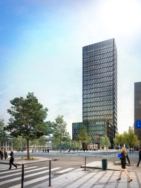 Le Two Lyon, vue depuis du parvis du centre commercial © DPA Architecture