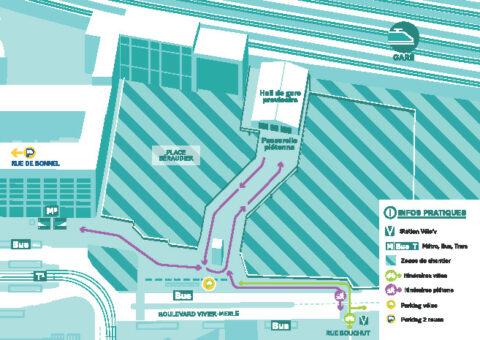 Carte accès gare par la passerelle provisoire